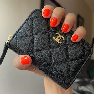 Chanel Quilted Caviar Leather 0-zip coin purse